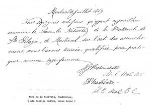 Certificat sage-femme Rosalie